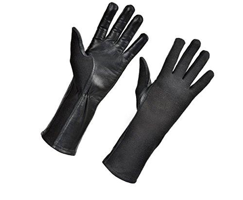 Nomex Flight Gloves Military Pilot Shop. Flight Gloves Nomex Gloves Olive drab Best Leather Aviator Gloves and Pilot Gloves Nomex for Leather Flight Deck Gloves and Gloves (9 (Long), Black)