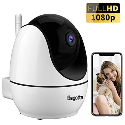 Bagotte 1080P Camara IP, Camara de Vigilancia WiFi Interior FHD con Visión Nocturna, con Ap Hotspot,Detección de Movimiento, Alarma Email, Audio de 2 Vías, Compatible con iOS, Android, PC