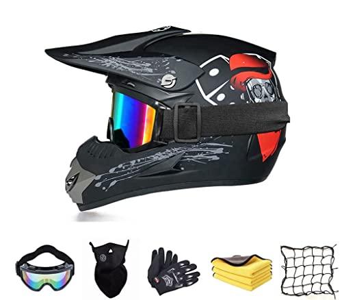 Juego de casco de motocross, casco completo para bicicleta de montaña o descenso, con 4 tamaños diferentes de forro interior, para niños de 6 a 14 años (#D)