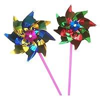 #N/A 100ピース/個DIYのパック光沢のあるスパンコール風車風車工芸品キッズパーティービーチおもちゃホームガーデンの装飾