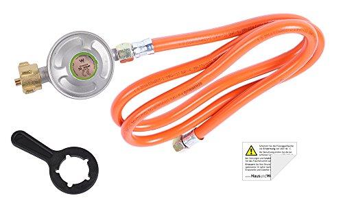 HausundWerkstatt24 Camping-Regler-Set: Schlüssel + Druckregler + Schlauch 150 cm (inkl. Sicherheitsaufkleber)