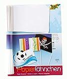 folia 2372 - Papierfähnchen, DIN A5, Stablänge 40cm, 20 Stück, weiß - zum bemalen, bekleben und verzieren