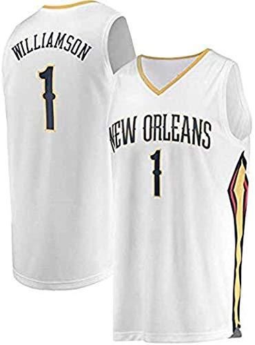 Hombres Nueva Orleans Pelicans # 1 Sion Williamson 2019 NBA Draft Primera Ronda Fast Break Alero Jersey Baloncesto (Color : White, Size : L (175-180cm))