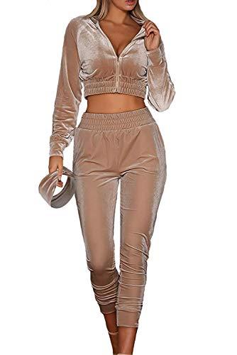 MAGIMODAC Damen Freizeitanzug Sportanzug Jogginganzug Sportjacke Jacke mit Reißverschluss Sporthose Hose mit Tunnelzug (Etikett M/EU 36-38, Khaki)
