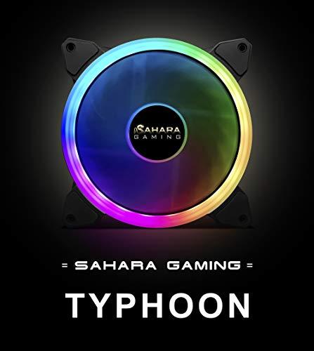Ventilador SaharaGaming Typhoon ARGB de 14 cm. Compatible Solo con buje de Ventilador Sahara RGB o Sync (6 Pines). 55 ajustes