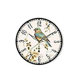 MOAAA Antique Home Decor Wall Clock with Silent Clock The Bird Vintage Wall Decoration Watch Living Room Decor,Style 3,12Inch 30Cm