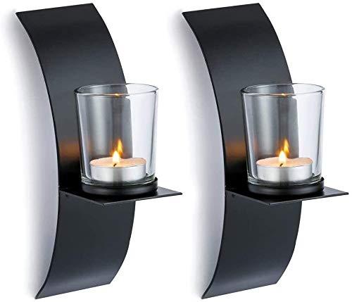 Dazlii 2Pcs Candlestick Holders, Handmade Iron Hanging Wall Sconce Candle Holder Shelf, Furnishing Articles Decoration, Black