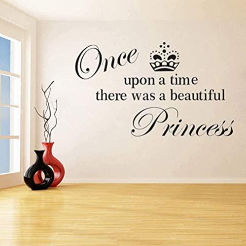 Érase una vez, adhesivos de vinilo para pared con hermosos patrones de letras de princesas se utilizaron para murales de arte infantil en jardines de infancia 34X57Cm