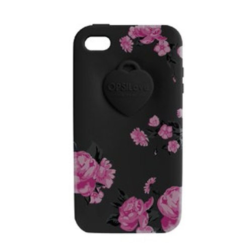 Cover OPS Objects FLOWER iPhone 4 Nero OPSCOVI4-14