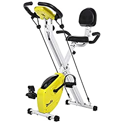 Exercise Bike Foldable for Home Use, Doufit Folding Indoor Stationary Bike, Adjustable Magnetic Workout Cycling Bicycle with Pulse Sensor & LCD Monitor