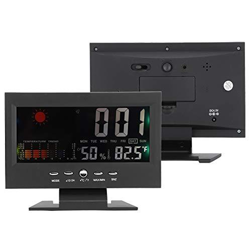 Plyisty Termómetro e higrómetro Digital multifunción, Monitor LCD de Temperatura y Humedad Interior al Aire Libre, ° C / ° F, pronóstico del Tiempo/Hora/visualización de Fecha