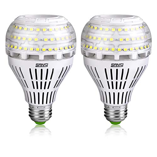 SANSI 22W (200-250 Watt Equivalent) A21 Ceramic LED Light Bulbs, ETL Listed, Daylight 5000K, Bright 3000lm, E26 Base, Non-dimmable, 2-Pack