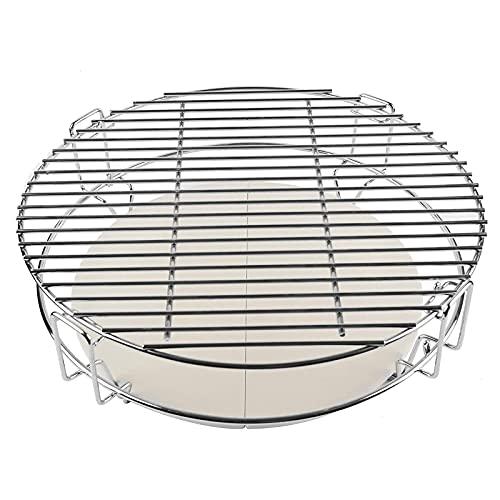 WKZYLKK Juego de Rejillas para Sistema de Semi-cocción,guía de Calor/Piedra para Pizza y Parrilla,Adecuado para Kamado Joe,Pit...
