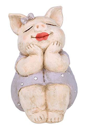 GILDE Figur Schwein Rosalie träumend - aus Poly in lila beige H 18,5 cm