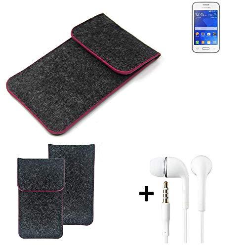 K-S-Trade® Funda Protectora De Fieltro para Samsung Galaxy Young 2 Estuche Bolsa Bolsillo Carcasa Cubierta Gris Oscuro Borde Rosa + Auriculares