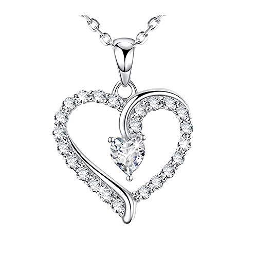 Cestbon Sterling Silber Herz Halskette -Platin Überzogen Zirkonia Diamant Anhänger Kette Damen Halskette Love Heart,Silber