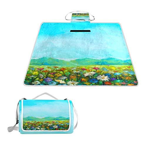 TIZORAX Picknickdecke mit Ölgemälde, weiß, rot, gelb, Gänseblümchen, wasserdicht, für den Außenbereich, faltbar, Picknick, praktische Matte für Strand, Camping, Wandern