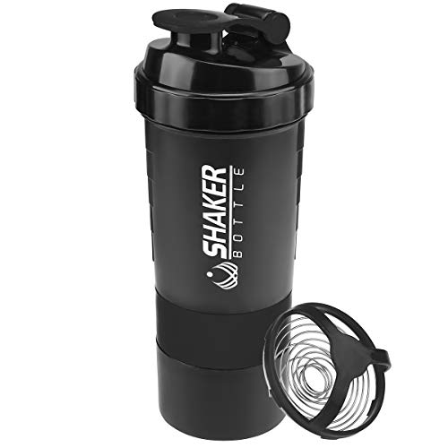 22 Oz Protein Shaker Bottle with Storage for Powder Mixes, 100% Bpa Free Mixer Cup Protein Shake with Blender Grid, Leak Proof, Measurement, 16 Oz Shake Cup with Split Twist off Storage Best for Gym