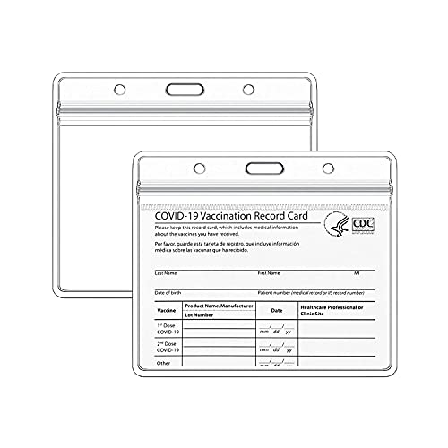 VMVN 2 Pack - Clear Vaccination Card Protector 4×3 inch for CDC Immunization Badge Cards Holder, Waterproof 4x3 Horizontal Badge ID Name Tag, Vinyl Plastic Sleeve Pouch