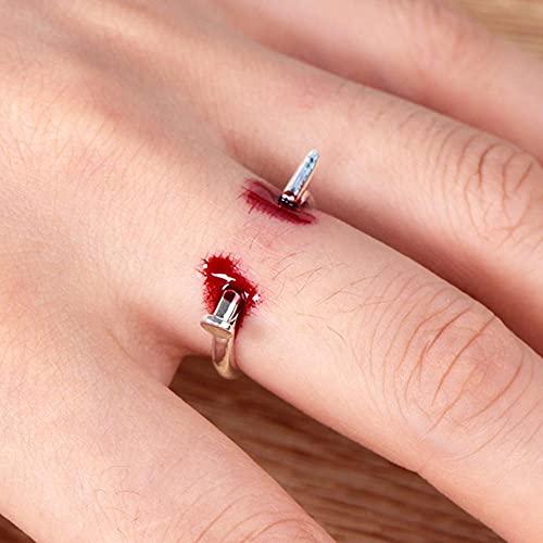 LASULEN 3pcs Realista Tricky Bloody Nail Ring Disfraz de Halloween Aleación Uña Creativa, Forma de uñas de Halloween Anillo Abierto Anillo de Apertura Ajustable con Forma de uña