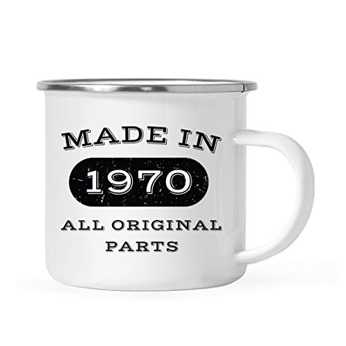 Andaz Press 11oz. Stainless Steel Birthday Campfire Coffee Mug Gift, Made in 1970 All Original Parts, 1-Pack, 46th, 47th, 48th, 49th Birthday, Anniversary Camping Drinking Cup
