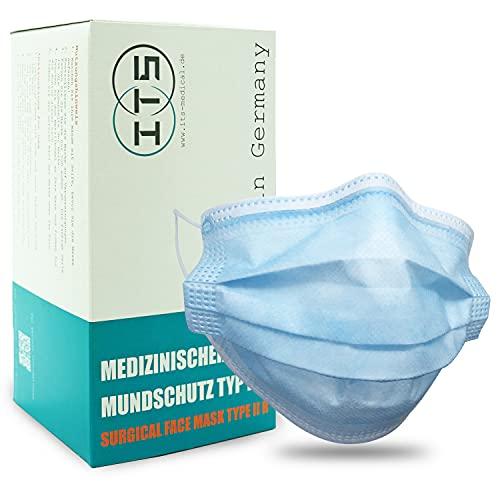 ITS Medizinischer Mundschutz TYPIIR 50 Stk, Made in Germany, 3 Lagen, CE & DIN zertifiziert, OP Maske, Einwegmasken, Mundschutz Medizinisch, BFE 98%
