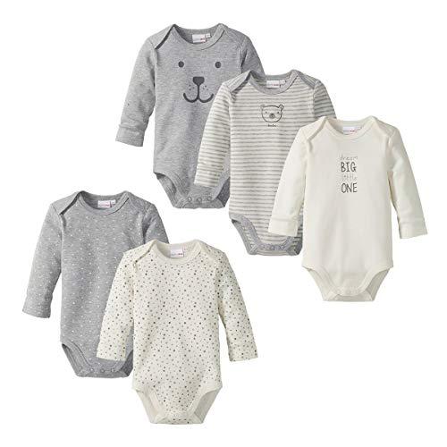 Bornino Body langarm (5er-Pack) / Baby Kleidung / 100% Baumwolle/grau melange/wollweiß