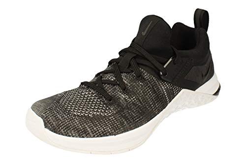 Nike Mujeres Metcon Flyknit 3 Running Trainers AR5623 Sneakers Zapatos (UK 5 US 7.5 EU 38.5, Black Matte Silver White 001)
