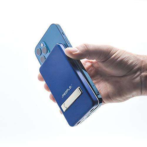 Batería externa azul 5000 mAh 15 W magnética inalámbrica Mini puerto universal Smartphone soporte mesa pequeño tamaño sin cable puerto USB-C ultra delgado enchufe inteligente