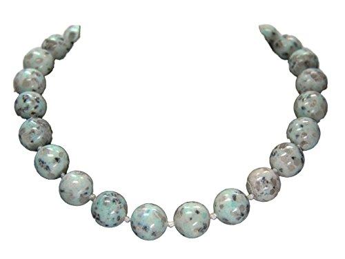 Bonito collar de piedras preciosas Lotus-jaspe en forma redondeada D-16 mm 47 cm de largo