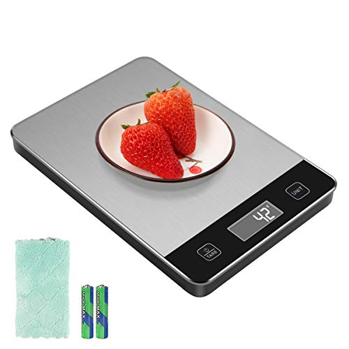 Kitchen Scale with Waterproof Glass Surface 33lb Digital Food Scale Weight Grams and oz for Baking Cooking Touch Button 01oz Precise Graduation Tare Function 6 Unit Batteries and Towel Included