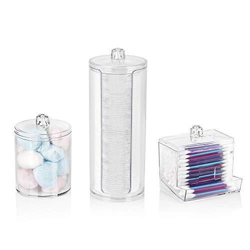Overroo Make-up Organisator Set-Katoen Pad Houder, Katoenen Bud Houder en Multifunctionele Cilinder Opbergdoos met Plastic Deksels