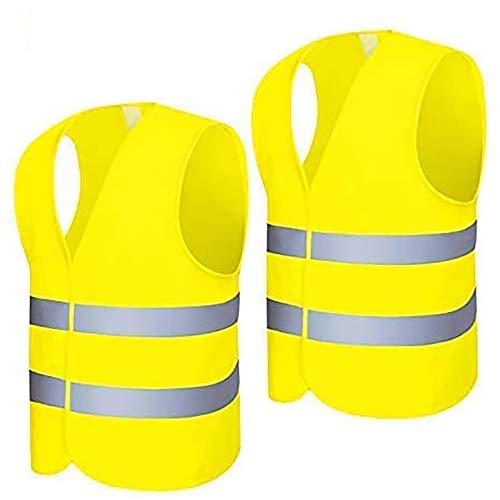 Warnweste 2 Stück EN 471 Neon Gelb Hochsichtbare Sicherheitsweste 360 Grad Reflektierende Warnweste Auto( 64x65cm)