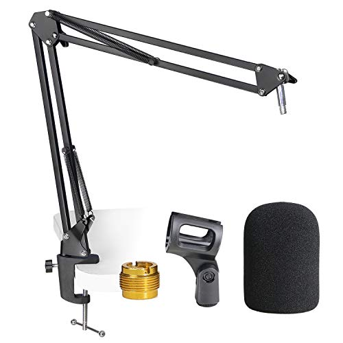 AT2020 Mic Stand with Pop Filter - Microphone Boom Arm Stand with Foam Windscreen for Audio Technica AT2020 AT2020USB+ AT2035 Condenser Microphone by YOUSHARES