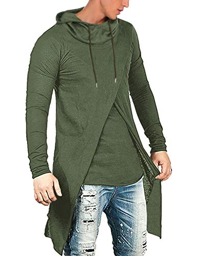 COOFANDY Men's Slim Fit Hoodie Lightweight Hooded Sweatshirt Casual Hip Hop Long Length Cloak Cotton Blend Pullover Army Green