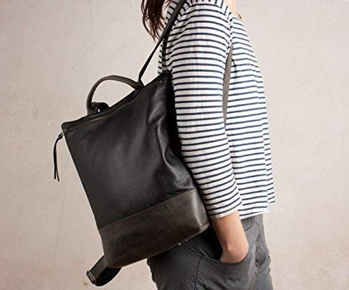 Mochila cuero negra y gris, mochila piel negra, mochila cuero, mochila