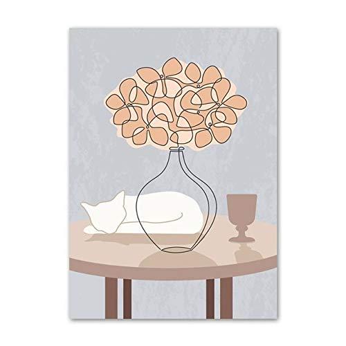 Home Life Weinglas Restaurant Vase Dusche weiße Katze Leinwand Malerei Wandkunst Poster und Drucken Wohnkultur (No Frame)