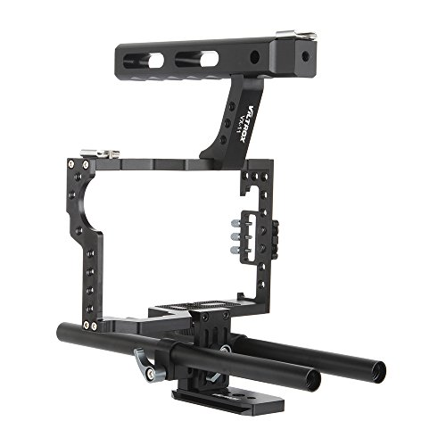 Viltrox Video Cage Kit Stabilizer VX-11 Aluminum Alloy Film Movie Making System w/ 15mm Rail Rod + Top Handle for Panasonic GH5/GH4 for Sony A7S/A7/A7R/A7RII/A7SII ILDC Mirrorless Camera Camcorder