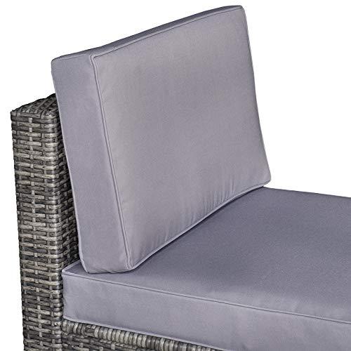 Outsunny 8-TLG. Polyrattan Gartengarnitur Gartenmöbel Garten-Set Sitzgruppe Loungeset Loungemöbel Beistelltisch als Aufbewahrungskorb Grau Stahl + Polyester 58 x 58 x 37 cm - 7