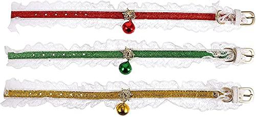 QIXIAOCYB 3 unids Collars Pet Pet con Bells Navidad Pet Pet Color Anillo Ajustable Cat COLLACTAT Adorable Decoración