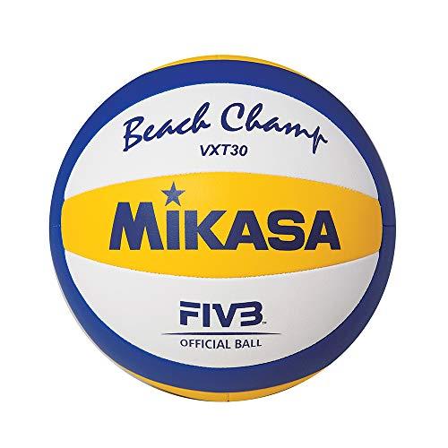 MIKASA VXT30, Pallone Beach Volley Replica Tecnica da Allenamento del VLS300 Unisex Adulto, Bianco/Azzurro/Giallo, 5