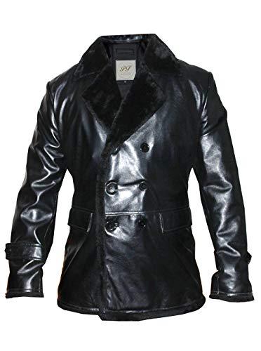 Pelletteria Factory Men Warm Faux Leather Lamb Fur Lined Thick Coat Fashion Cowboy Jacket Winter Overcoat