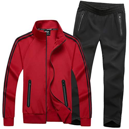 Mirecoo Herren Jogginganzug Trainingsanzug Fitness, Rot 18, XXL