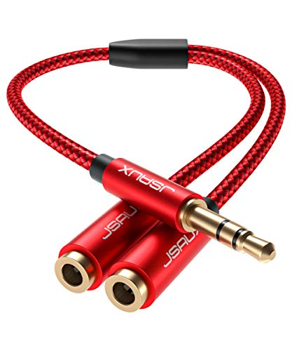 JSAUX Headphone Splitter, Audio Splitter 3.5mm Male TRS to 2 Dual 3.5mm Female Adapter Nylon-Braided Stereo Y Splitter for iPhone, Samsung, Tablets, Laptop, Playstation and More [Red]