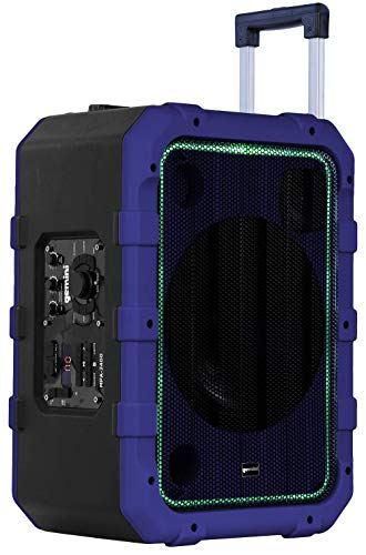 """Gemini MPA-2400BLU 10"""" Rechargeable Weather-Resistant Trolley Speaker with Bluetooth, LED Light Show, 6 DSP Modes, Microphone and Guitar Inputs, 240W Peak Power, FM Radio, Blue"""
