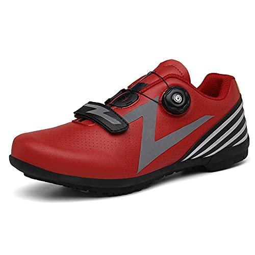 Zapatillas De Ciclismo Para Carretera,Zapatillas De Bicicleta De Montaña Transpirables,con Suela De Carbono Y Sistema Rotativo De Precisión Calzado De Ciclismo Y Senderismo ( Color : Red , Size : J )