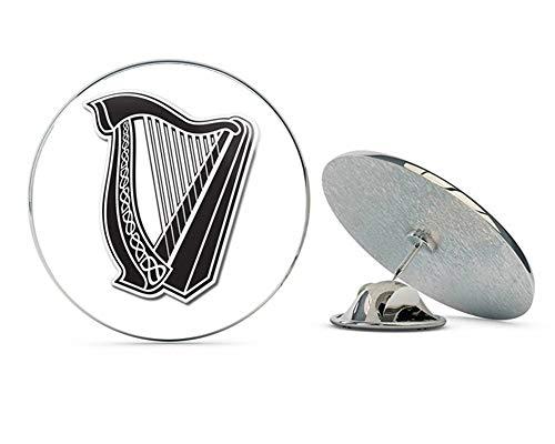 BRK Studio Celtic Harp Lyre Round Metal 0.75' Lapel Pin Hat Shirt Pin Tie Tack Pinback