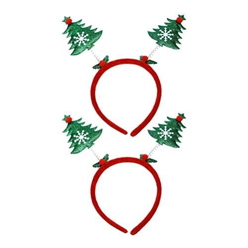 Toyvian Weihnachtsbaum Stirnbänder Weihnachtskostüm Stirnbänder Glitzer Weihnachten Kopfbedeckung Elf Party Hüte Stirnband für Erwachsene Kinder Urlaub Dekoration 2Pcs