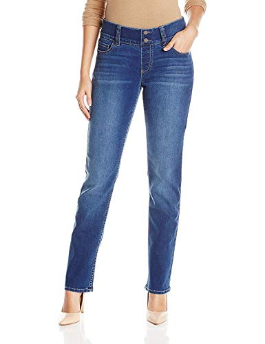 Riders by Lee Indigo Women's Pull-On Waist Smoother Straight-Leg Jean,Mid Shade,12