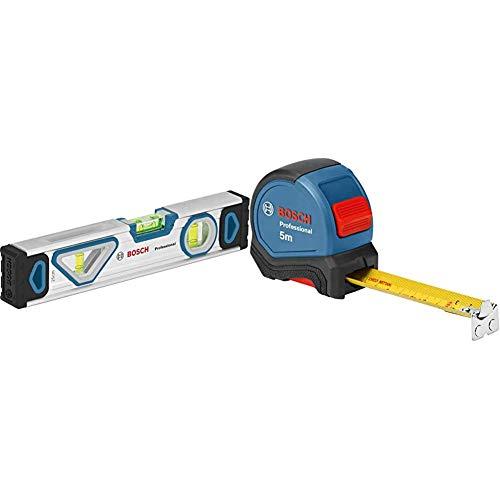 Bosch Professional Wasserwaage 25 cm mit Magnet System (rundum ablesbar, Aluminium-Gehäuse, robuste Endkappen) + Maßband 5 m (Einhandbedienung, Gürtelklemme, Magnethaken, 2 Stopp-Tasten)